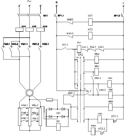 Схема автоматического управления реверсивным электроприводом с асинхронным двигателем с фазным ротором