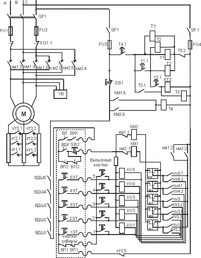 Схема автоматического управления лифтом